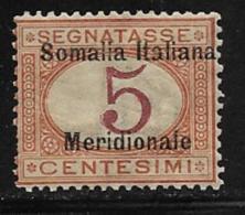 Somalia Scott # J1 Mint Hinged Italy Postage Due Stamp,1906  CV$26.00, Looks Like It Is MNH - Somalia