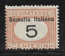 Somalia Scott # J12 Mint Hinged Italy Postage Due Stamp,1909 - Somalia