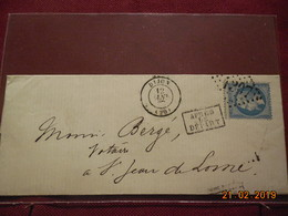 Lettre De 1867 Au Depart De Dijon A Destination De St Jean De Losne - Marcophilie (Lettres)