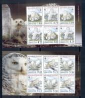 Greenland 1999 WWF Birds, Owl 2x Booklet Panes MUH - Unused Stamps