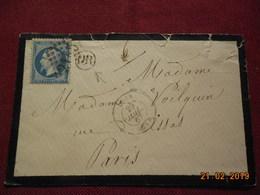 Lettre De 1867 Au Depart De Lyon A Destination De Paris - Marcophilie (Lettres)