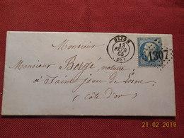 Lettre De 1865 Au Depart De Dijon A Destination De St Jean De Losne - Marcophilie (Lettres)