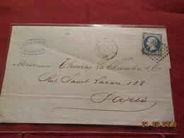 Lettre De 1864 Au Depart De Bordeaux A Destination De Paris - Marcophilie (Lettres)