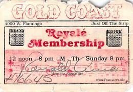Gold Coast Casino - Las Vegas - Rare Paper Royale Membership Card With Bingo Logos - Casino Cards