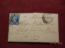 Lettre De 1865 Au Depart De Nuits A Destination De St Jean De Losne - Marcophilie (Lettres)