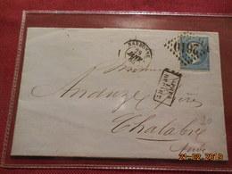 Lettre De 1865 Au Depart De Narbonne A Destination De Chalabre - Marcophilie (Lettres)