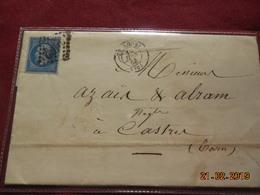 Lettre De 1865 Au Depart De Toulouse A Destination De Castres - Marcophilie (Lettres)
