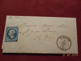 Lettre De 1868 Au Depart De Auxonne A Destination De St Jean De Losne - Marcophilie (Lettres)