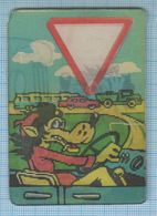 Soviet Union USSR RUSSIA Pocket Calendar Cartoon, Wolf By Car. Road Signs. Stereo. 3D.1971 - Calendars