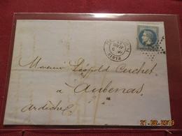 Lettre De 1868 Au Depart De Paris A Destination De Aubenas - Marcophilie (Lettres)