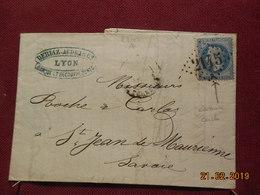 Lettre De 1870 Au Depart De Lyon A Destination De St Jean De Maurienne - Marcophilie (Lettres)