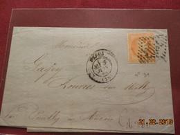 Lettre De 1869 Au Depart De Dijon A Destination De Rouvres/Meilly - Marcophilie (Lettres)