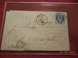 Lettre De 1867 Au Depart De Dijon A Destination De Montpellier - Marcophilie (Lettres)