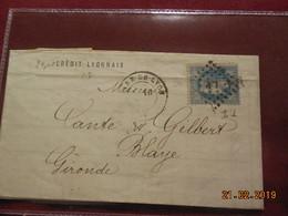 Lettre De 1871 Au Depart De Paris A Destination De Blaye - Marcophilie (Lettres)