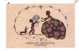 Herzlichen Glucknvunsch  Carte Silhouette Silhouetten Hund Blumen Shadows Dog - Silhouettes