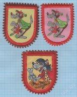 USSR / RUSSIA / Vintage Patch, Abzeichen, Parche, Ecusson / Soviet Cartoon / Wolf, Hare / 1970s - Patches