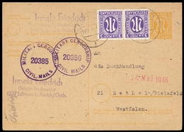 1945, Bizone, 10 Az (2) + P905, Brief - Bizone