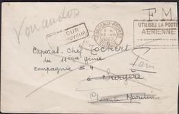LETTRE EN FRANCHISE MILITAIRE  RETOUR A L ENVOYEUR  CACHET DE BORDEAUX DU 13/08/1940 - Marcophilie (Lettres)