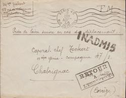 LETTRE EN FRANCHISE MILITAIRE  INADMIS RETOUR A L ENVOYEUR    CACHET DE PARIS 1940   11 GÉNIE - Marcophilie (Lettres)