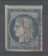 N°4 Oblitéré Grille ROUGE, RARE !!! - 1849-1850 Cérès
