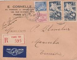 LIBERATION 4F X2 +MERCURE SURCH +CHAINE 40C SUR LR AVION PARIS 13/2/45 POUR LA TUNISIE MANOUKA - 1921-1960: Modern Period