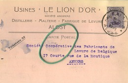 Aalst - Alost : Usines ' Le Lion D'Or ' : Distellerie-Malterie-       1927   ( 2 Scans ) - Aalst