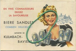 BIERE SANDLER : Kulmbach-baviere   Brasserie - Brouwerij    RECLAME  :   ( 12 X 8 Cm )  See Scans - Autres Collections