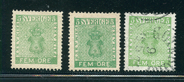 SUEDE 1856 N° 6 (vert Jaune) + 6a (vert Foncé) Dentelé 14 Tout état Voir Photo - Schweden