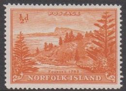 Norfolk Island ASC 1a 1947 Ball Bay, Half Penny Orange White Paper, Mint Never Hinged - Norfolk Island