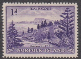 Norfolk Island ASC 2a 1947 Ball Bay 1d Violet White Paper, Mint Never Hinged - Norfolk Island