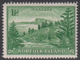 Norfolk Island ASC 3a 1947 Ball Bay, Three Half Penny Green White Paper, Mint Never Hinged - Norfolk Island
