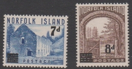 Norfolk Island ASC 23-24 1956 Surcharges, Mint Never Hinged - Norfolk Island