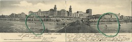 Blankenberge  :  Panorama Kaart  (  Dubbele Kaart )  Geschreven 1902 Met Zegel - Blankenberge
