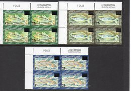 PAPUA NEW GUINEA, 1995 FISH OVERPRINT 3 IMPRINT CNR BLOCKS 4 MNH - Papua New Guinea