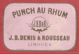Etiquette : Punch Au Rhum -  J B Denis & Rousseau Limoges - 11,5 / 7,5 Cm - Rhum