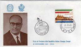 San Marino 1965 Visita Del Presidente Della Repubblica Italiana Giuseppe Saragat FDC - Celebrità