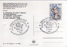 Italia 1982 Cortona (AR) Eremo Delle Celle Di Cortona Centenario Francescano Annullo Cartolina - Cristianesimo
