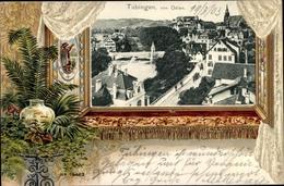 Passepartout Gaufré Cp Tübingen Am Neckar, Teilansicht, Vogelschau, Vase - Deutschland
