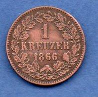 Baden -  1 Kreuzer 1866   -  état  TTB - [ 1] …-1871: Altdeutschland