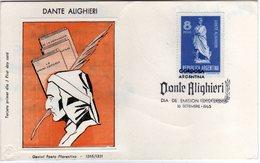 Argentina 1965 Dante Alighieri FDC - Scrittori