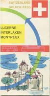 Schweiz - Luzern Interlaken Monteux 1960 - Golden Pass - Europa Bus - Faltblatt Mit 10 Abbildungen Und Einer Reliefkarte - Dépliants Touristiques