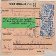 DR - 3x25 Pfg. Leipziger Messe Paketkarte Böglingen - Köln 1940 Zollaufkleber ! - Deutschland