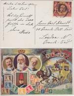 Bayern - 10 Pfg. Luitpold Jubiläumsmarke Sonderkarte Postkutsche N. ENGLAND 1911 - Bayern