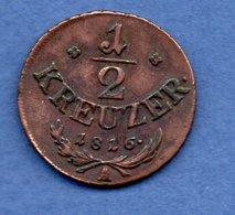 Autriche  - 1/2 Kreuzer 1826  --  état  TB - Autriche