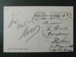 """1916 - WW1 CACHET MILITAIRE """" CONVOIS DE RAPATRIES CIVILS GENEVE """" Sur CP SUISSE FM FRANCHISE Pr HENNEBONT MORBIHAN - Postmark Collection (Covers)"""