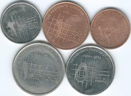 Jordan - Hussein - ½ (1996 - KM60) & 1 Qirsh (1994 - KM56); 2½ (1992 - KM53) 5 (1998 - KM54) & 10 Piastres (1992 - KM55) - Jordanie