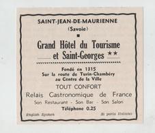 Publicité Saint Jean De Maurienne Grand Hôtel Du Tourisme Et Saint Georges Relais Gastronomique - Publicités
