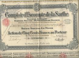 Action Et Titre Comptoir Des Escompte  De La Sarthe No 08.620 - Other