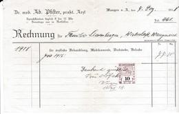 Rechnung Ad. Pfister, Arzt, Wangen A.A. 1918, Mit Fiskalmarke - Suisse