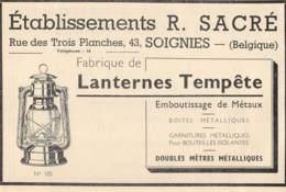 1947 - SOIGNIES - Rue Des Trois Planches - Ets R. SACRÈ - Dim. 1/2 A4 - Advertising